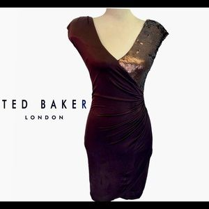 Ted Baker London brown sequin wrap dress size 1